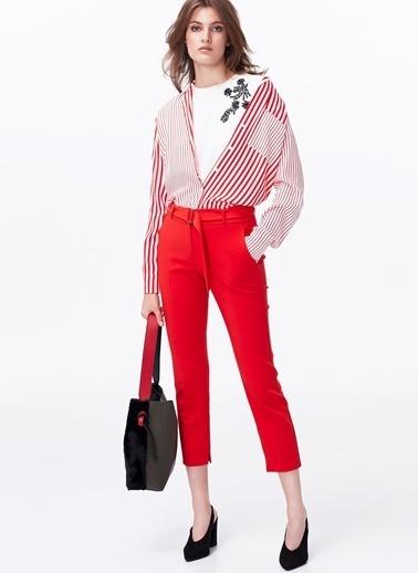 Ipekyol Pijama Form Çizgi Geçişli Gömlek Kırmızı